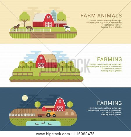 Set Of Vector Flat Style Illustrations Of Farm Landscape With Farmhouses And Fields. Web Banner Temp