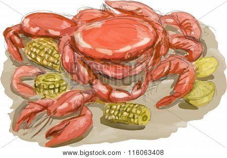 Cajun Seafood Watercolor