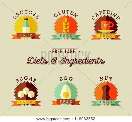 Healthy Food Label Design Set In Flat Style