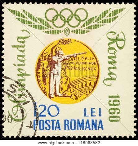 Romanian Olympic Winner In Sport Shooting Ion Dumitrescu On Postage Stamp