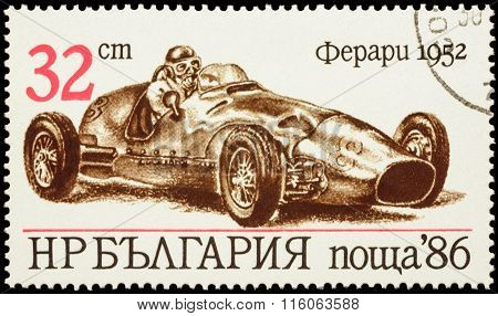Old Racing Car Ferrari (1952) On Postage Stamp