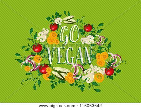 Go Vegan Food Illustration With Vegetable Elements