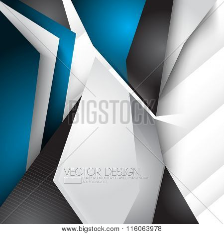 unusual geometric shape chrome metallic elements corporate business illustration