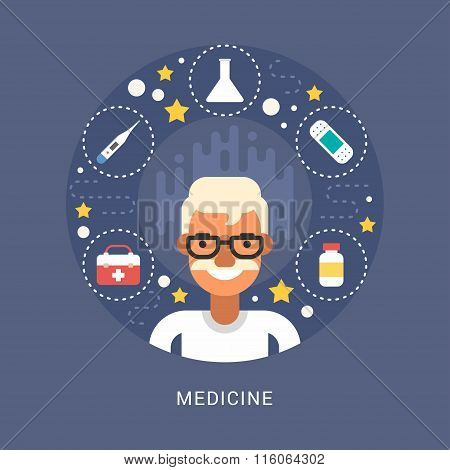 Medicine Icons And Objects In The Shape Of Circle. Doctor Cartoon Character. Vector Illustration In