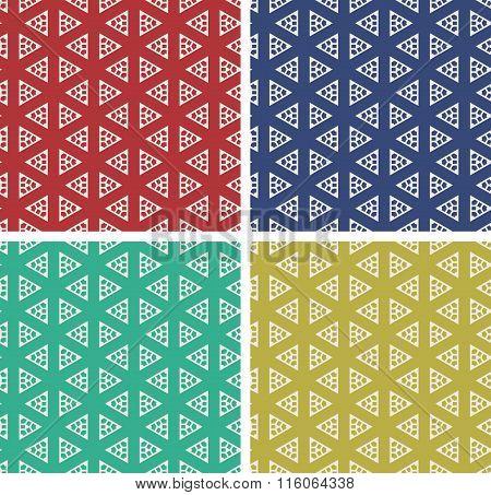 Set of colorful geometric pattern background.