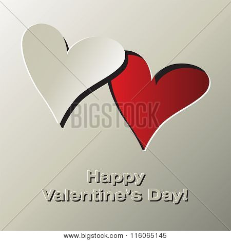 Happy Valentine's Day. Greeting Card With Two Hearts And Place For Your Text