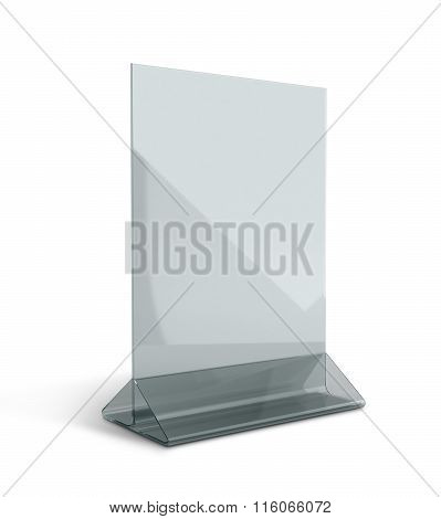 3D Render Acrylic Clear Menu Holder Triangle Base In Isolated Background With Work Paths, Clipping P
