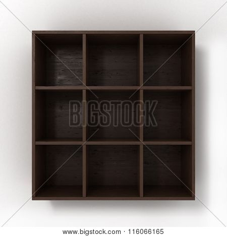 Dark Hanging Bookshelf Isolated On White Background