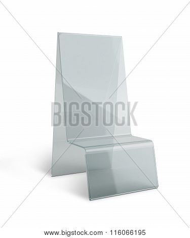 Transparent Acrylic Table Stand Menu Holder Display In Isolated Background With Work Paths, Clipping