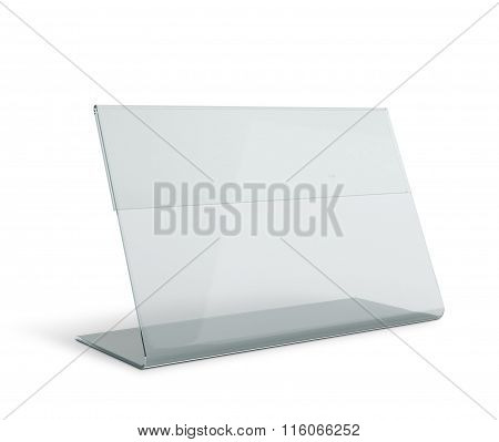 Clear Menu Holder Triangle Base In Isolated Background With Work Paths, Clipping Paths Included