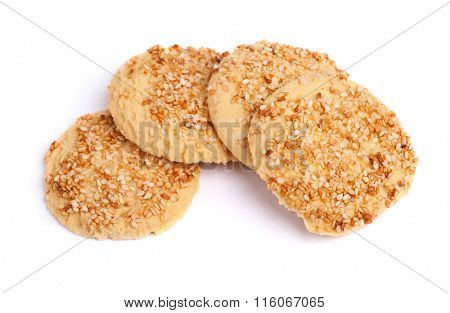 Sesame cookies isolated on white background