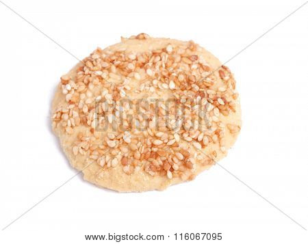 Sesame cookie isolated on white background