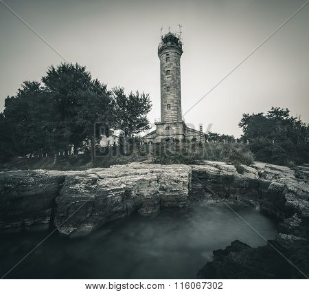 Lighthouse In Savudrija, Istria, Croatia, Black And White