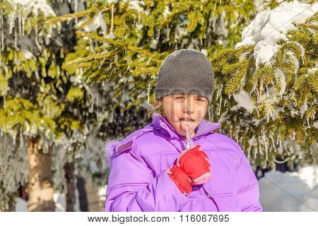 Little Girl Licking Icicle
