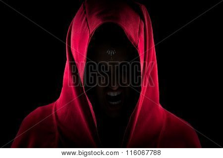 Girl In Red Hood Making Scary Wolf Face