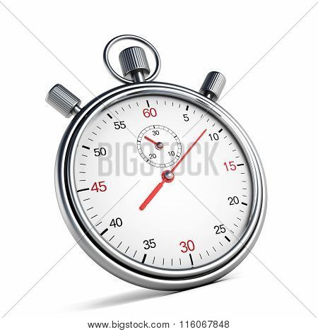Vintage metal chronometer isolated on white background