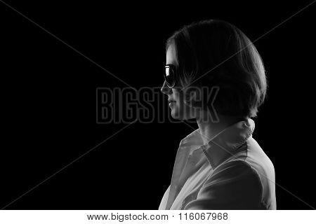 Pretty Model Sunglasses Black And White Profile