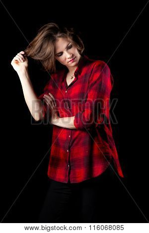 Model Red Flannel Shirt Pulling Hair