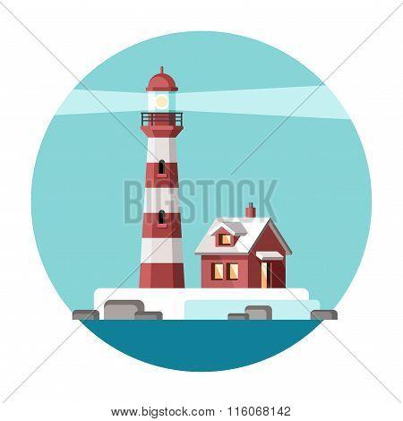 Sea and a Lighthouse Solitary Island.