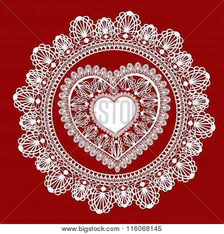 Lace heart on red background