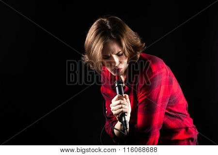 Model Red Flannel Shirt Singing Down