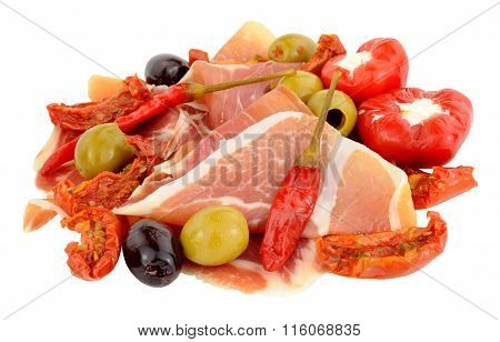 Sliced Serrano Ham With Olives And Peppers