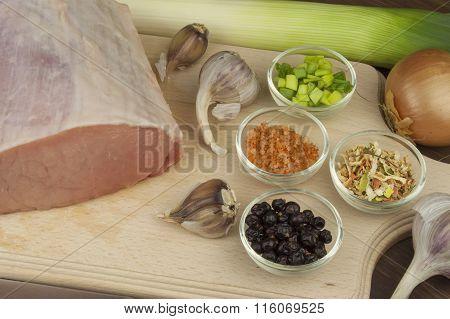 Raw pork roast. Fresh raw pork on a cutting board