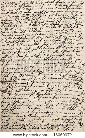 Handwritten Text. Grunge Paper Texture Background