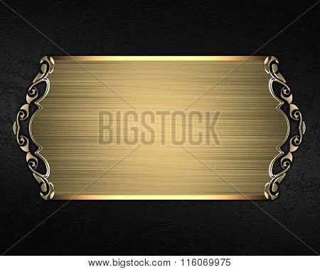 Black Velvet Background With Gold Plate. Element For Design. Template For Design. Copy Space For Ad