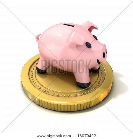 Piggy bank money box standing on gold coin