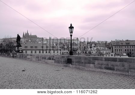 View Of Prague Castle From The Charles Bridge In Black And White