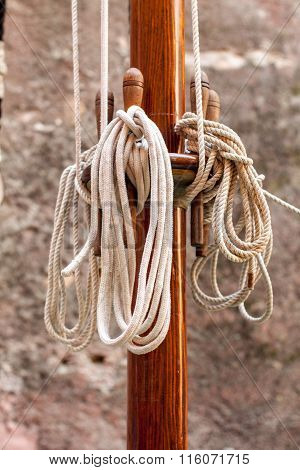 Wooden Mast And Ropes
