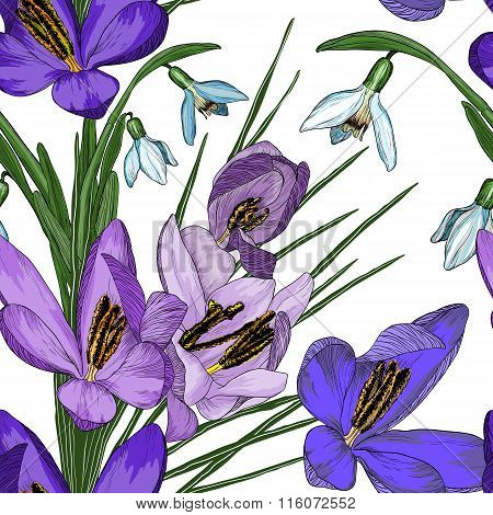 Floral Seamless Pattern With Snowdrop And Crocus Flowers