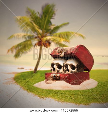 Treasure chest with skulls on a deserted island. Warm filtered picture.