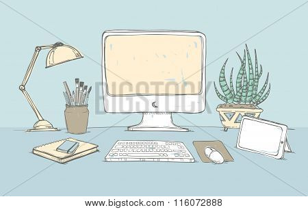 Hand Drawn Vector Illustration -  Concept Of Creative Office Workspace. Working Place With Computer,