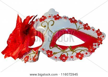 Carnival Mask Bow Decoration Flowers Border Isolated White