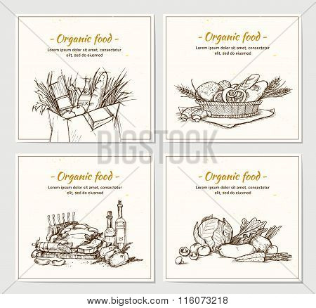 Hand Drawn Vector Illustrations - Supermarket Shopping Baskets With Organic Food. Grocery Store.