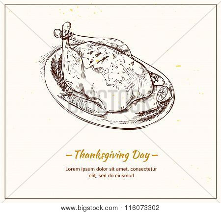 Hand Drawn Vector Illustration - Thanksgiving Day. Turkey With Lemon And Spices