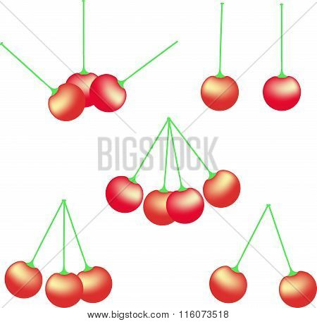 Red cherry, yellow gradient, green roots, on white background