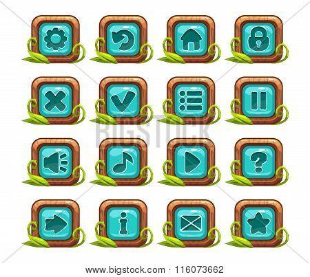 Cartoon square buttons menu set
