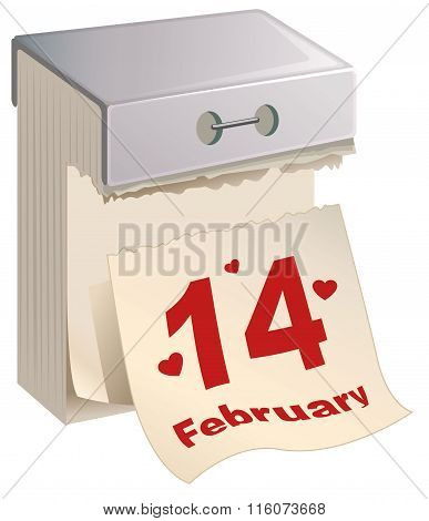 February 14 Valentines Day. Tear-off calendar