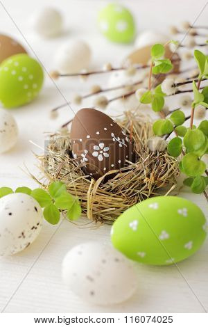 easter eggs and willow branches