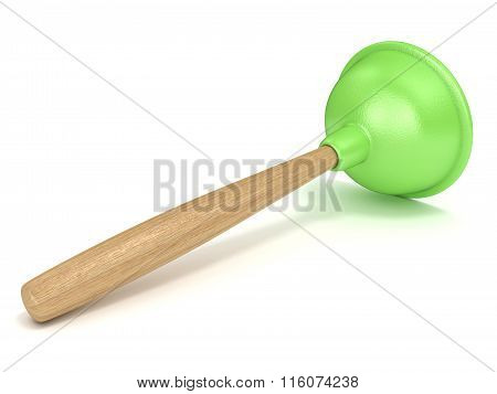 Green rubber toilet plunger. 3D