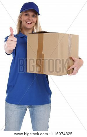 Parcel Delivery Service Box Package Woman Delivering Job Thumbs Up Isolated