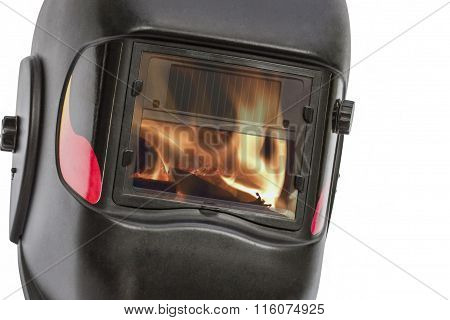 Reflection Of The Flame In The Glass Protective Mask, Isolated On White Background, With Clipping Pa