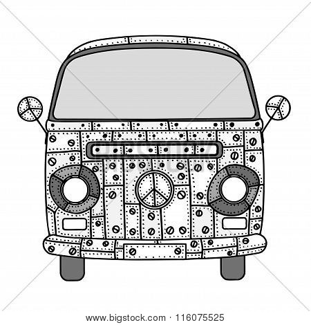 Van In Zentangle Style