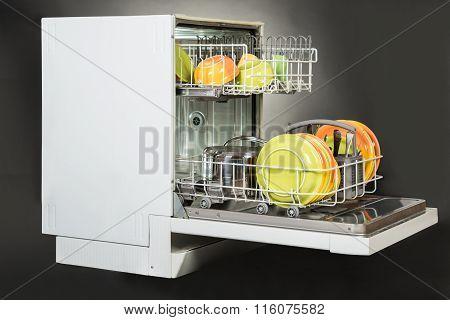 Dishwasher Isolated Over Gray Background