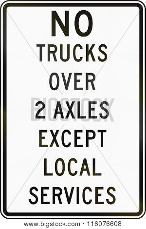 Road Sign Used In The Us State Of Delaware - Truck Restriction