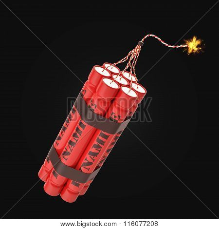 Red burning dynamite isolated on background.