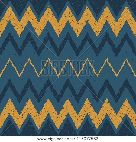 Vector Seamless Blue Yellow Color Hand Drawn Horizontal Zigzag Distorted Lines Grungy Ethnic Pattern